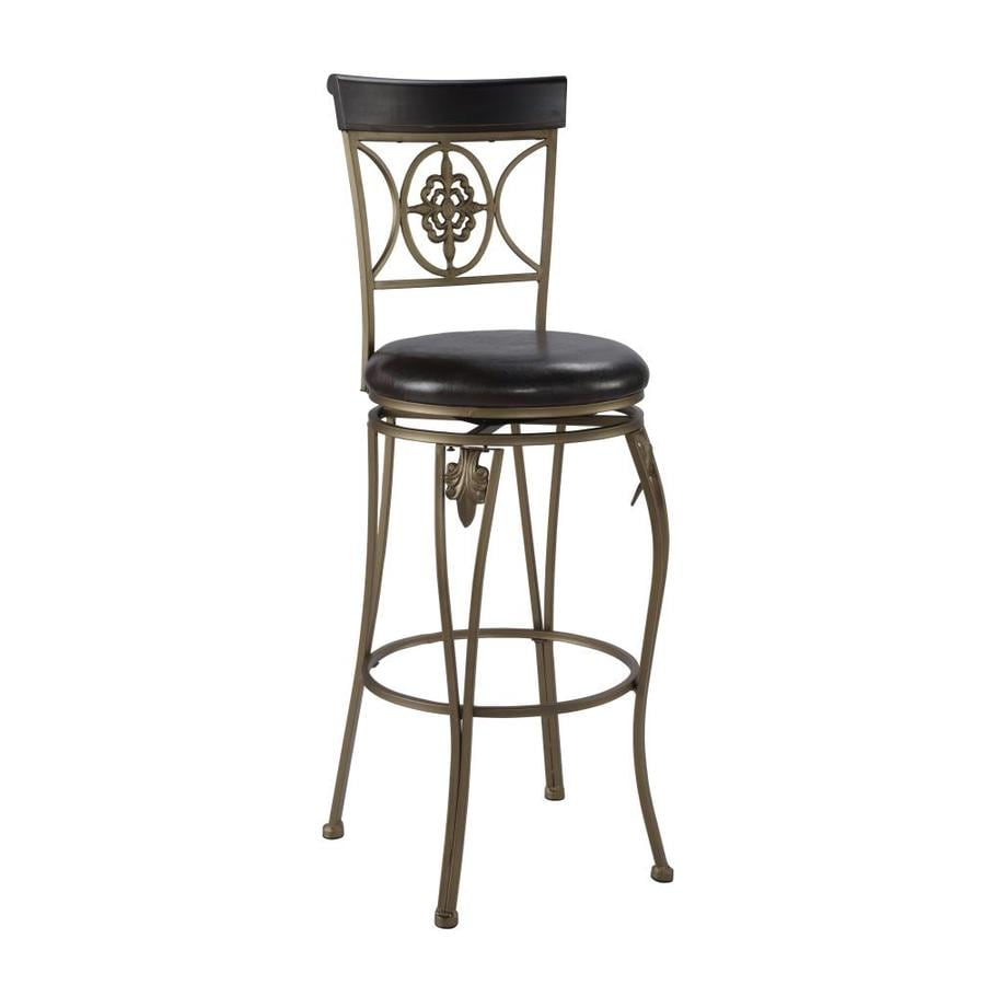 Linon Fleur De Lis Dark Antique Gold 30-in Bar Stool