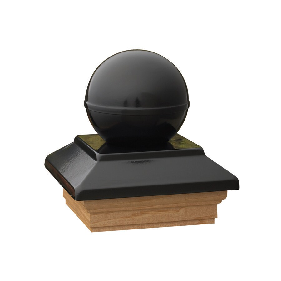 Maine Ornamental Black Metal Pine Deck Post Cap (Fits Common Post Measurement: 4-in x 4-in; Actual: 5.54-in x 5.54-in x 5.77-in)