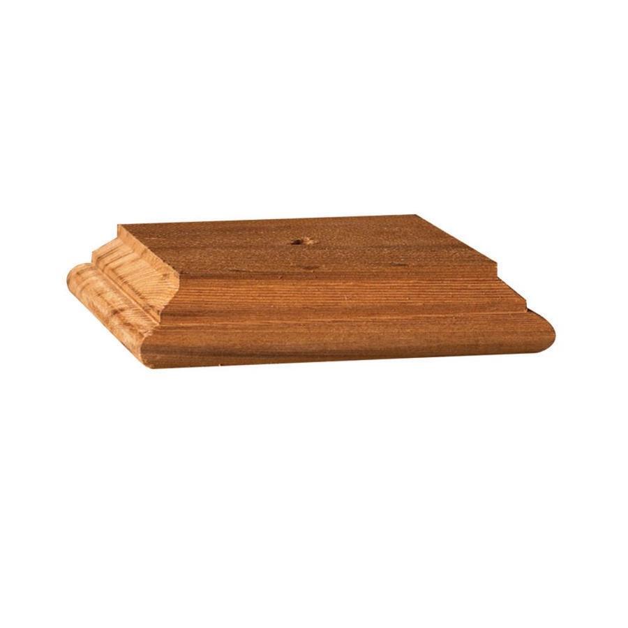 Maine Ornamental Brown Redwood Deck Post Cap (Fits Common Post Measurement: 6-in x 6-in; Actual: 6.05-in x 6.05-in x 1.01-in)