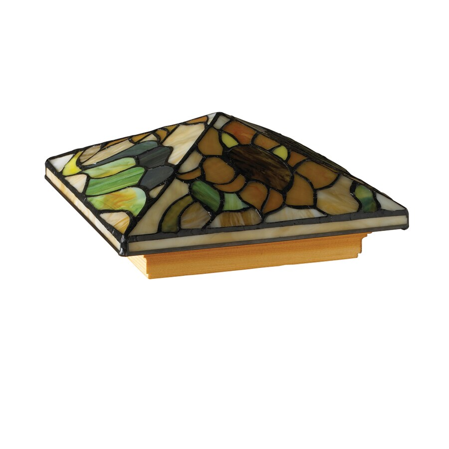 Maine Ornamental 6-In X 6-In Stained Glass Tiffany-Style Sunflower Cedar Post Cap