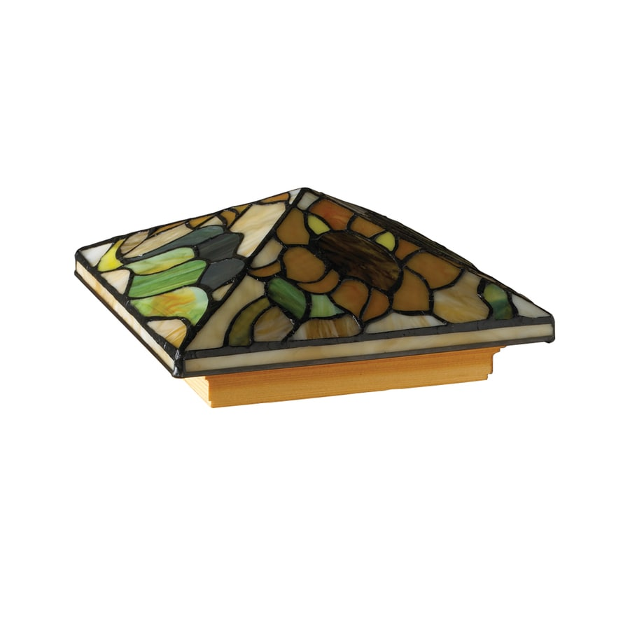 Maine Ornamental 6-In X 6-In Stained Glass Tiffany-Style Sunflower Treated Post Cap