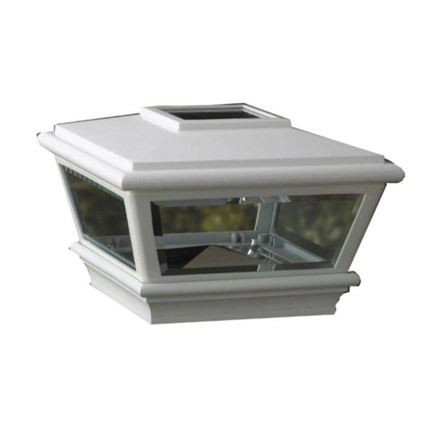Maine Ornamental White Solar LED Metal Deck Post Cap (Fits Common Post Measurement: 4-in x 4-in; Actual: 6.75-in x 6.75-in x 4.85-in)