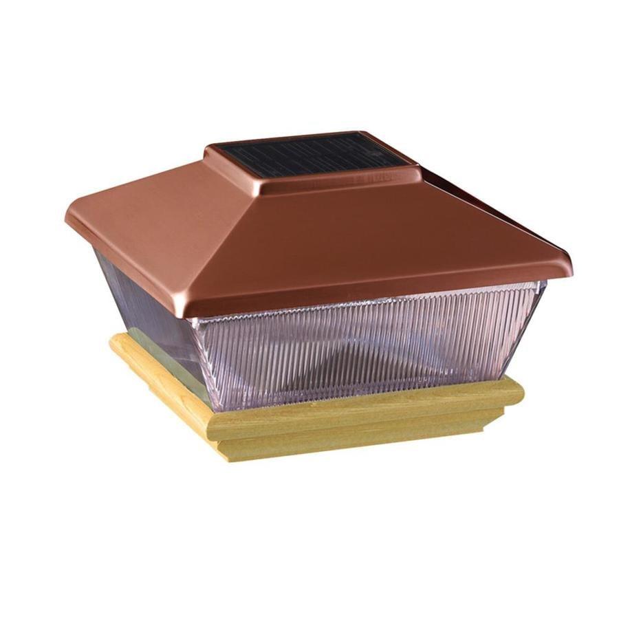 Maine Ornamental Copper Solar Led Metal Cedar Deck Post Cap (Fits Common Post Measurement: 6-in x 6-in; Actual: 8.75-in x 8.75-in x 7-in)
