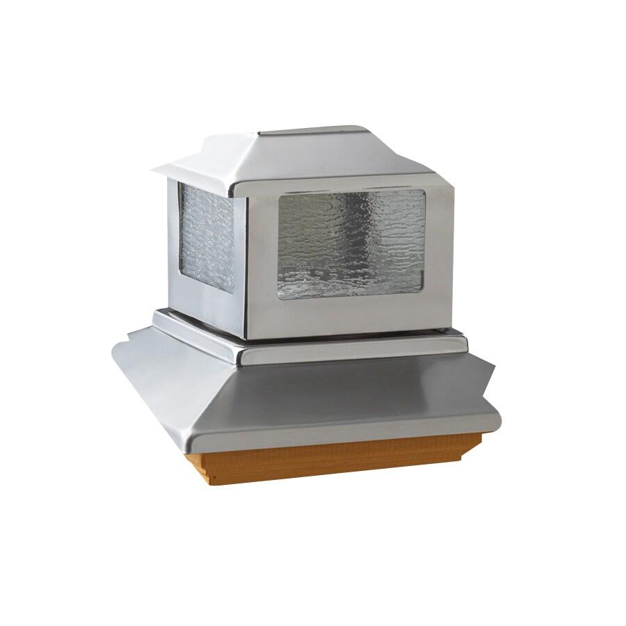 ornamental 6x6 solar stainless cedar solar post light at. Black Bedroom Furniture Sets. Home Design Ideas