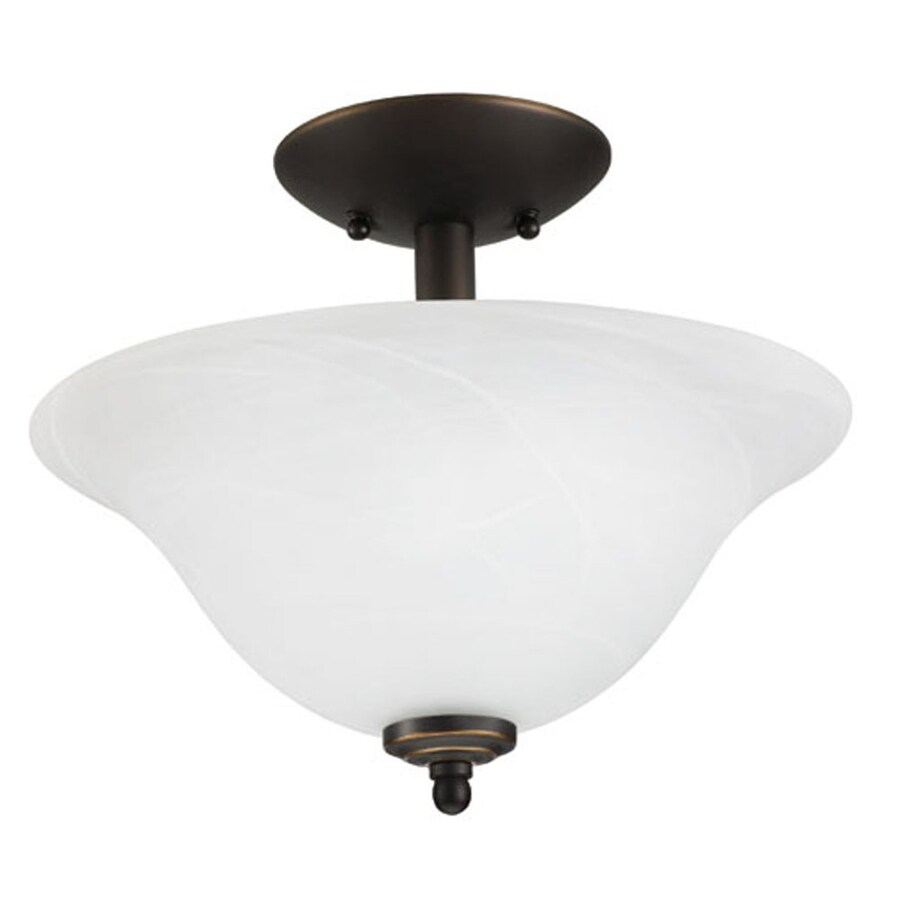 Good Earth Lighting Lucerne 13.25-in W Oil-Rubbed Bronze Alabaster Glass Semi-Flush Mount Light