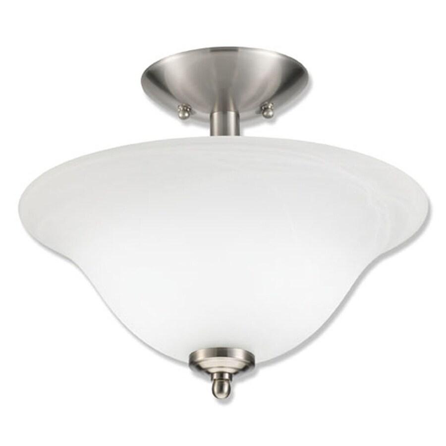 Good Earth Lighting Taverna 13.25-in W Brushed Nickel Alabaster Glass Semi-Flush Mount Light