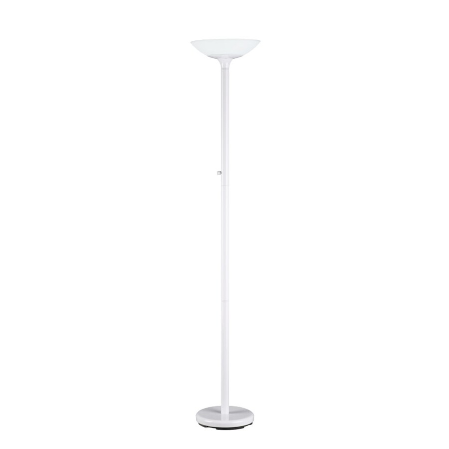 Good Earth Lighting 72-in White Torchiere Indoor Floor Lamp with Glass Shade