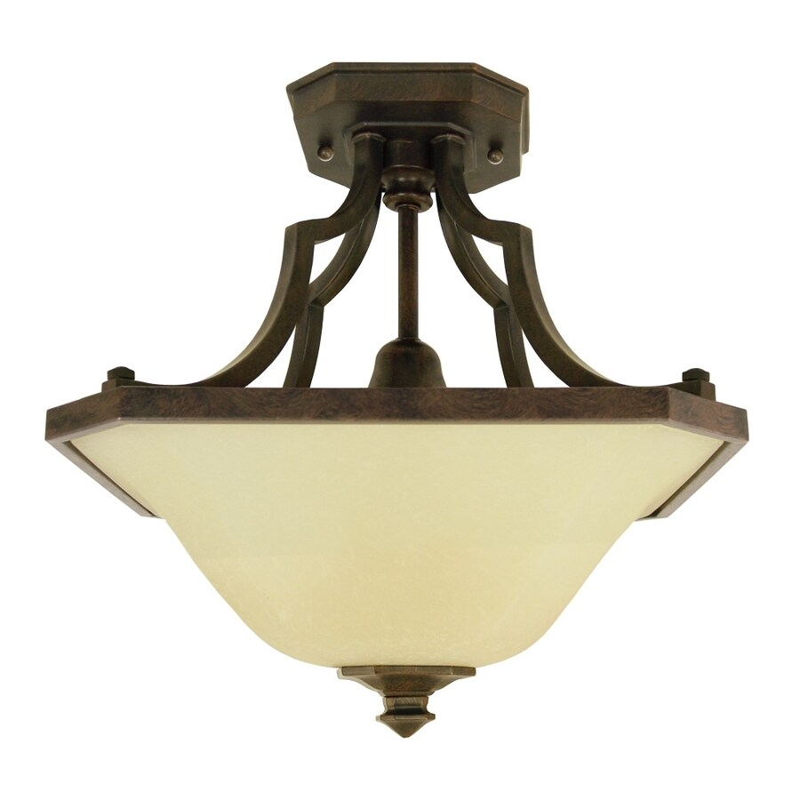 Good Earth Lighting Metropolitan 16.12-in W Bronze Tea-Stained Glass Semi-Flush Mount Light