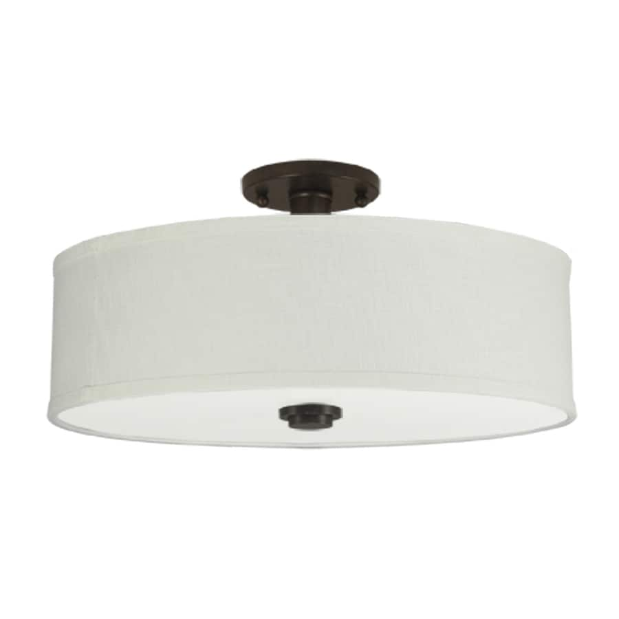 Good Earth Lighting Valencia 19-in W Dark Bronze Fabric Semi-Flush Mount Light