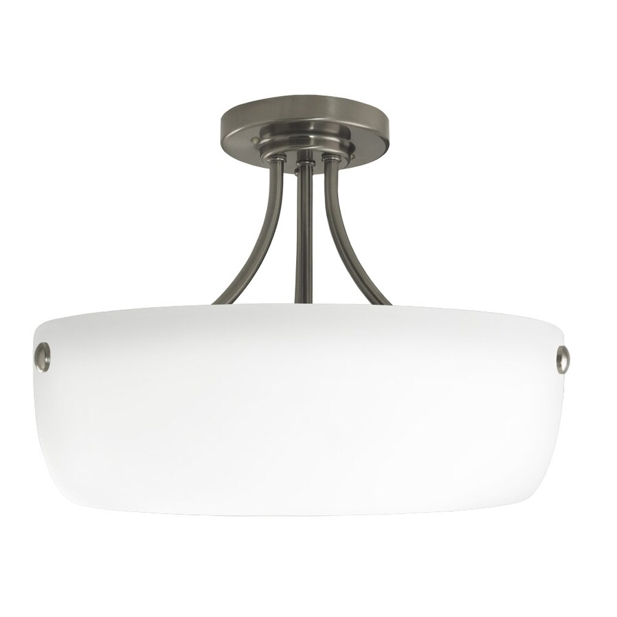 Good Earth Lighting Coronado 16.5-in W Pewter Frosted Glass Semi-Flush Mount Light