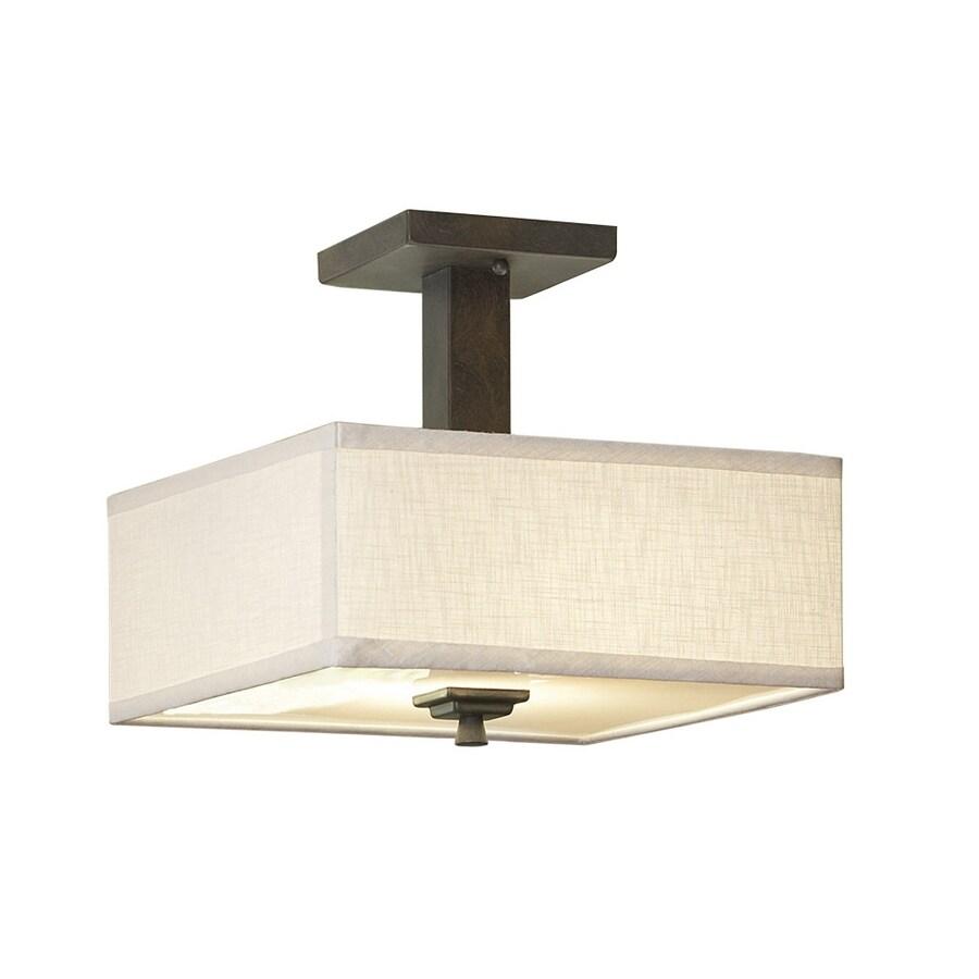 allen + roth Granada 12-in W Bronze Fabric Semi-Flush Mount Light