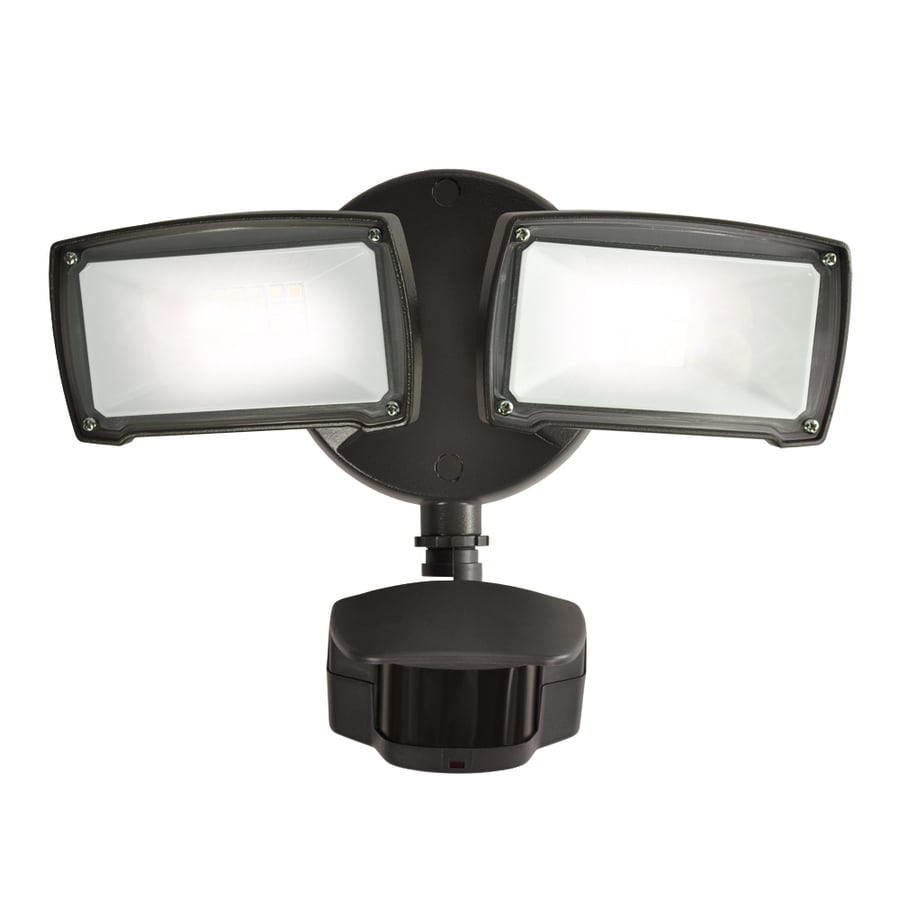 Utilitech Pro 180-Degree 2-Head Black Led Motion-Activated Flood Light