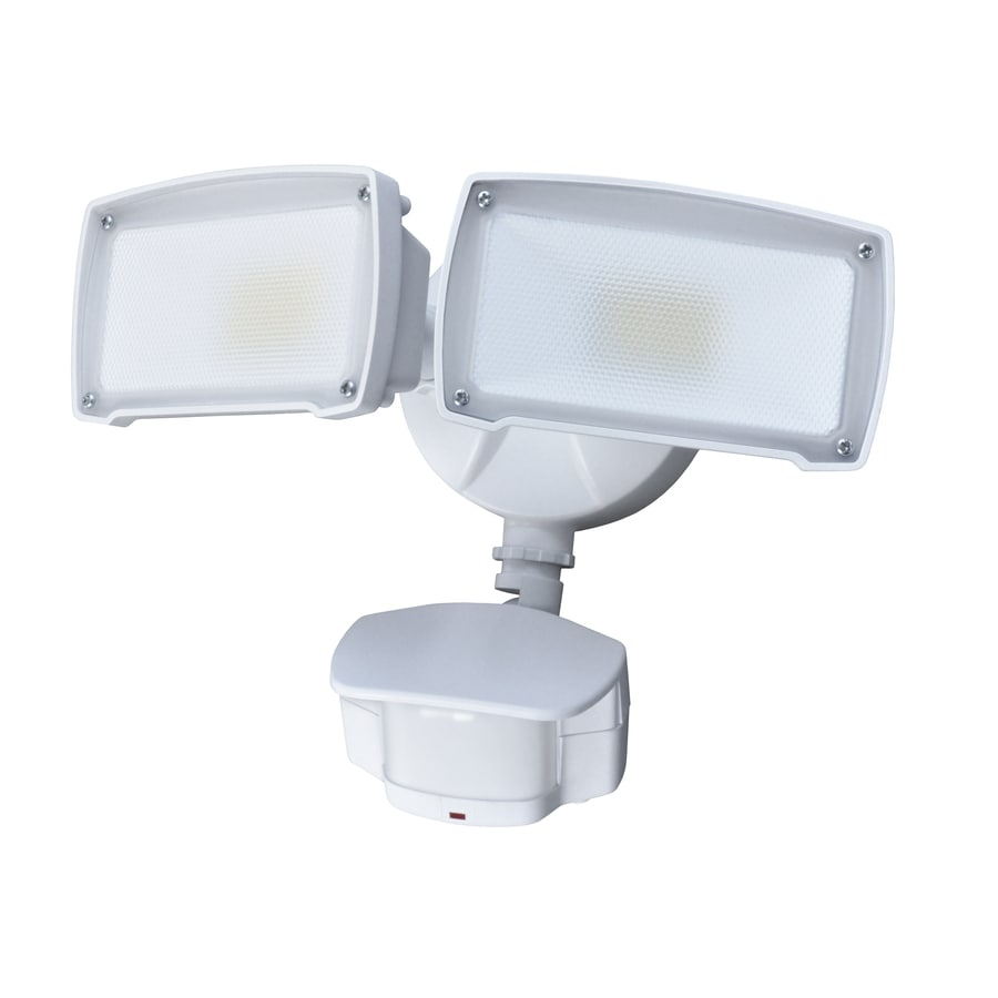 180 degree 2 head white led motion activated flood light at. Black Bedroom Furniture Sets. Home Design Ideas