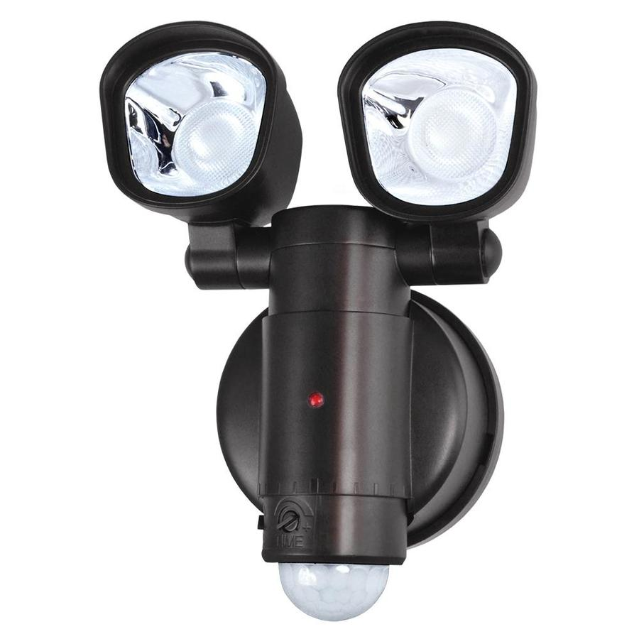 Utilitech 110-Degree 2-Head Bronze LED Motion-Activated Flood Light with Timer