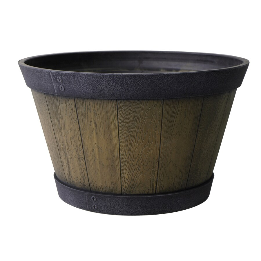 12.2-in H x 20.5-in W x 20.5-in D Aged Oak Indoor/Outdoor Planter