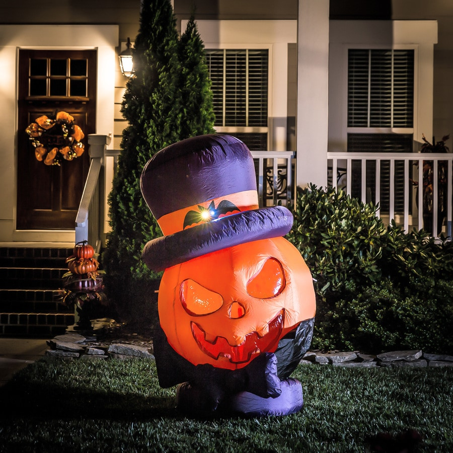 Holiday Living 4.99-ft x 2.95-ft Lighted Pumpkin Halloween Inflatable
