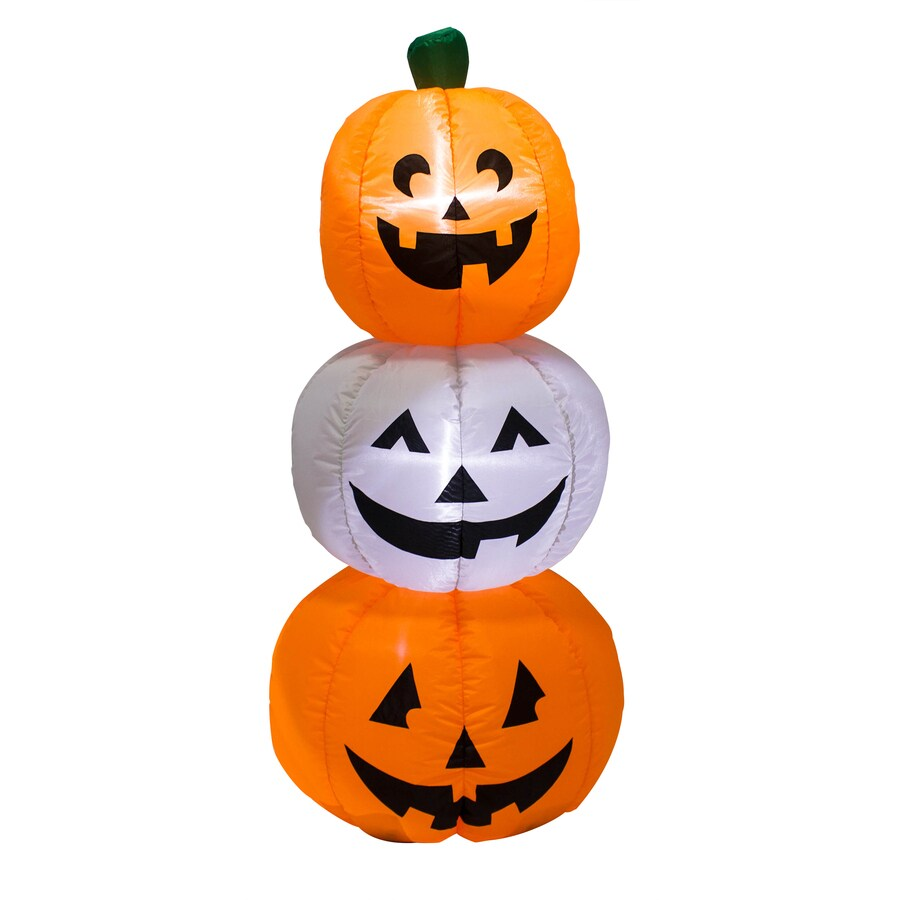 Ft x 1 64 ft lighted pumpkin stack halloween inflatable at lowes com