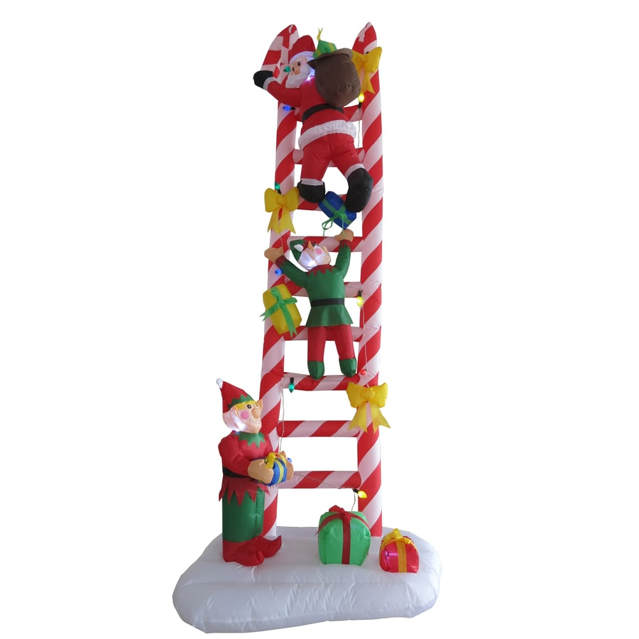 Shop holiday living 8 ft x 3 ft lighted santa 39 s ladder for Inflatable christmas decorations