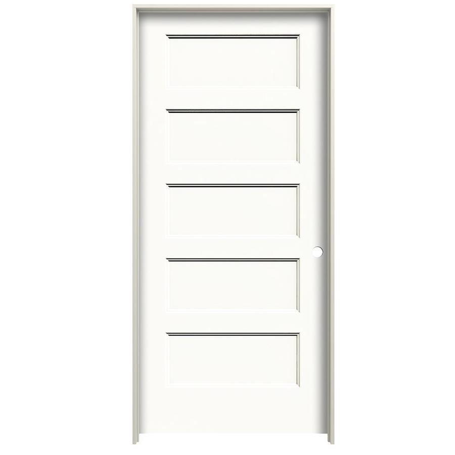 American Building Supply Conmore 32 In X 80 In Primed 5 Panel Equal Hollow Core Primed Molded Composite Left Hand Inswing Single Prehung Interior Door In The Prehung Interior Doors Department At Lowes Com