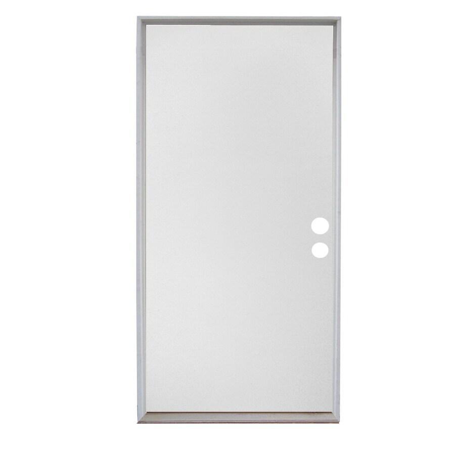 ReliaBilt Flush Solid Wood Core Left-Hand Inswing Wood Composite Primed Prehung Entry Door (Common: 32-in x 80-in; Actual: 33.5-in x 81.75-in)
