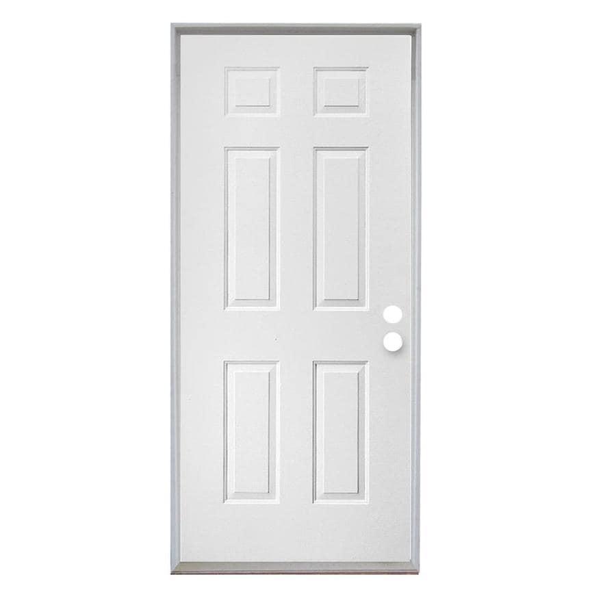 ReliaBilt 6-Panel Insulating Core Left-Hand Inswing Steel Primed Prehung Entry Door (Common: 36-in x 80-in; Actual: 37.5-in x 81.75-in)