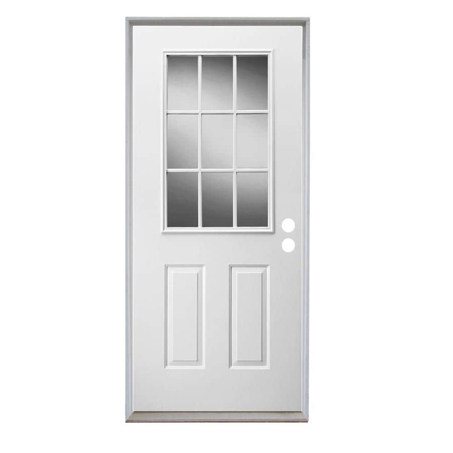 ReliaBilt French Insulating Core Half Lite Left-Hand Inswing Steel Primed Prehung Entry Door (Common: 36-in x 80-in; Actual: 37.5-in x 81.75-in)