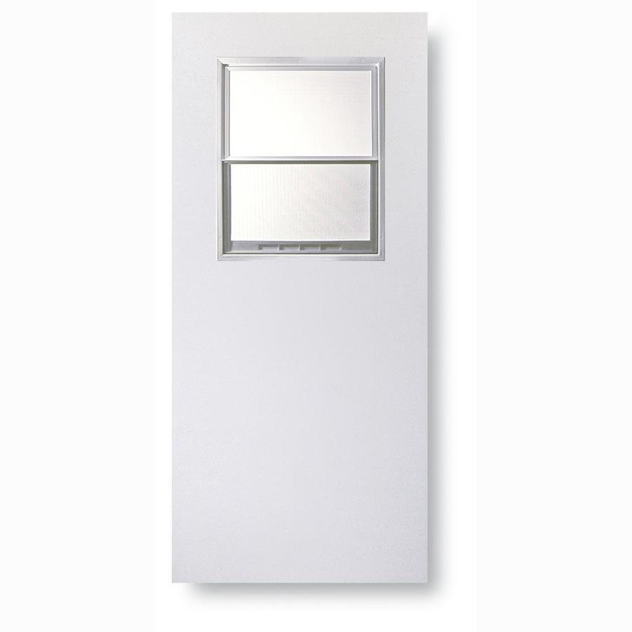 ReliaBilt Flush Solid Wood Core Half Lite Universal Reversible Wood Composite Primed Slab Entry Door (Common: 32-in x 80-in; Actual: 32-in x 80-in)