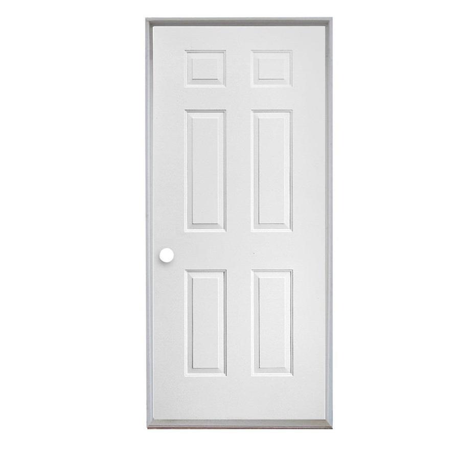 ReliaBilt 6-Panel Insulating Core Right-Hand Inswing Steel Primed Prehung Entry Door (Common: 36-in x 80-in; Actual: 37.5-in x 81.75-in)