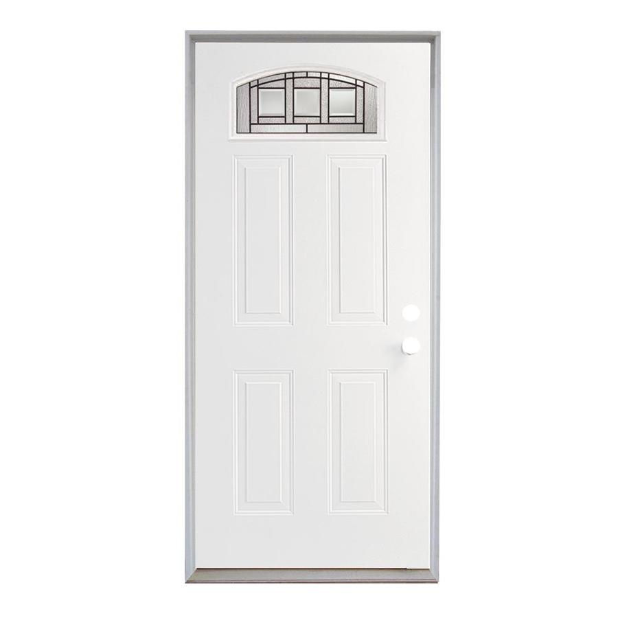 ReliaBilt Craftsman Glass French Insulating Core Morelight Right-Hand Inswing Steel Primed Prehung Entry Door (Common: 36-in x 80-in; Actual: 37.5-in x 81.75-in)