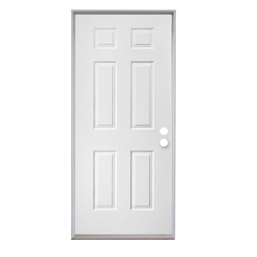 ReliaBilt 6-Panel Insulating Core Left-Hand Outswing Steel Primed Prehung Entry Door (Common: 36-in x 80-in; Actual: 37.5-in x 81.75-in)