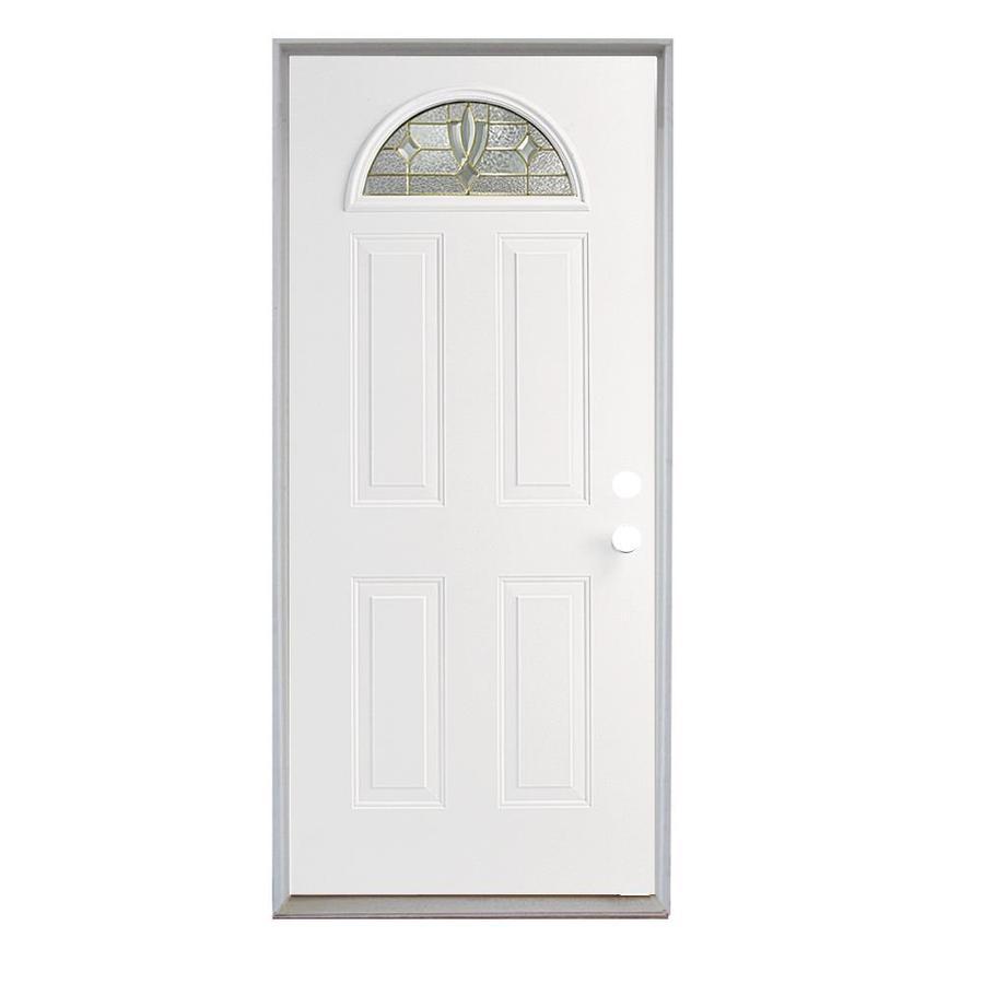 ReliaBilt Laurel French Insulating Core Fan Lite Left-Hand Inswing Steel Primed Prehung Entry Door (Common: 36-in x 80-in; Actual: 37.5-in x 81.75-in)