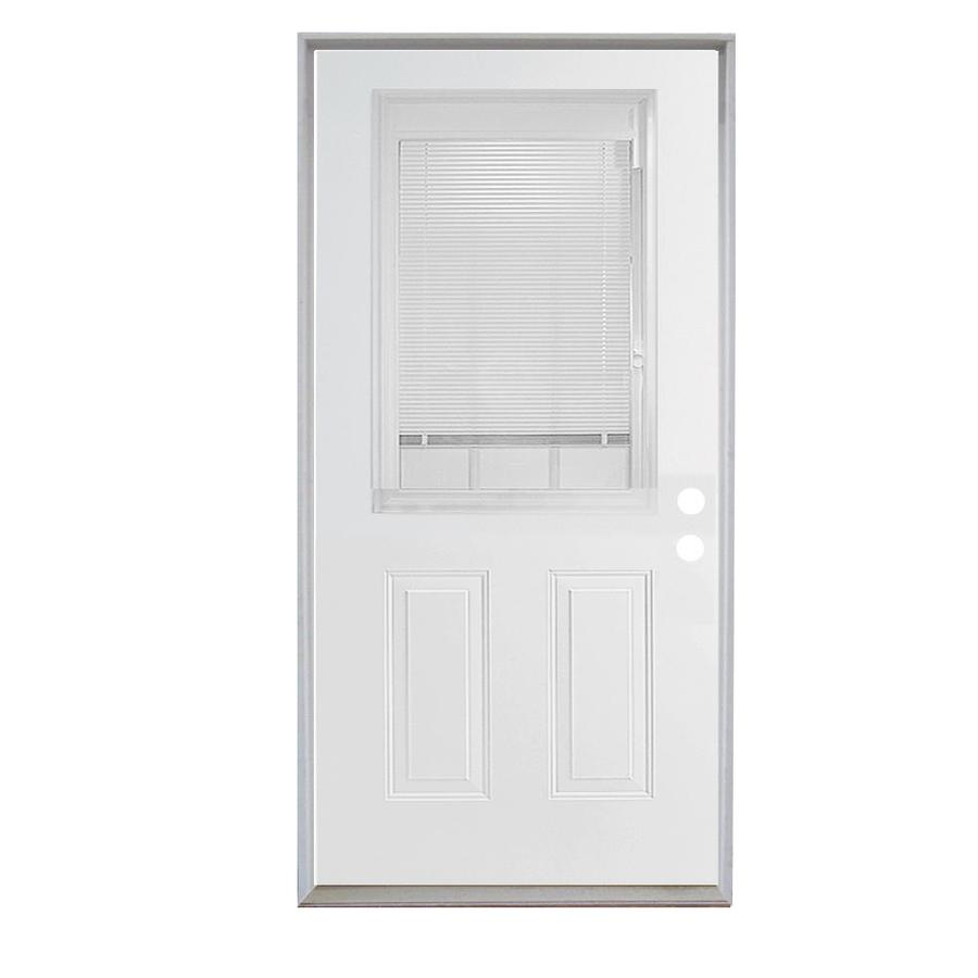 ReliaBilt French Insulating Core Blinds Between The Glass Half Lite Right-Hand Inswing Steel Primed Prehung Entry Door (Common: 36-in x 80-in; Actual: 37.5-in x 81.75-in)
