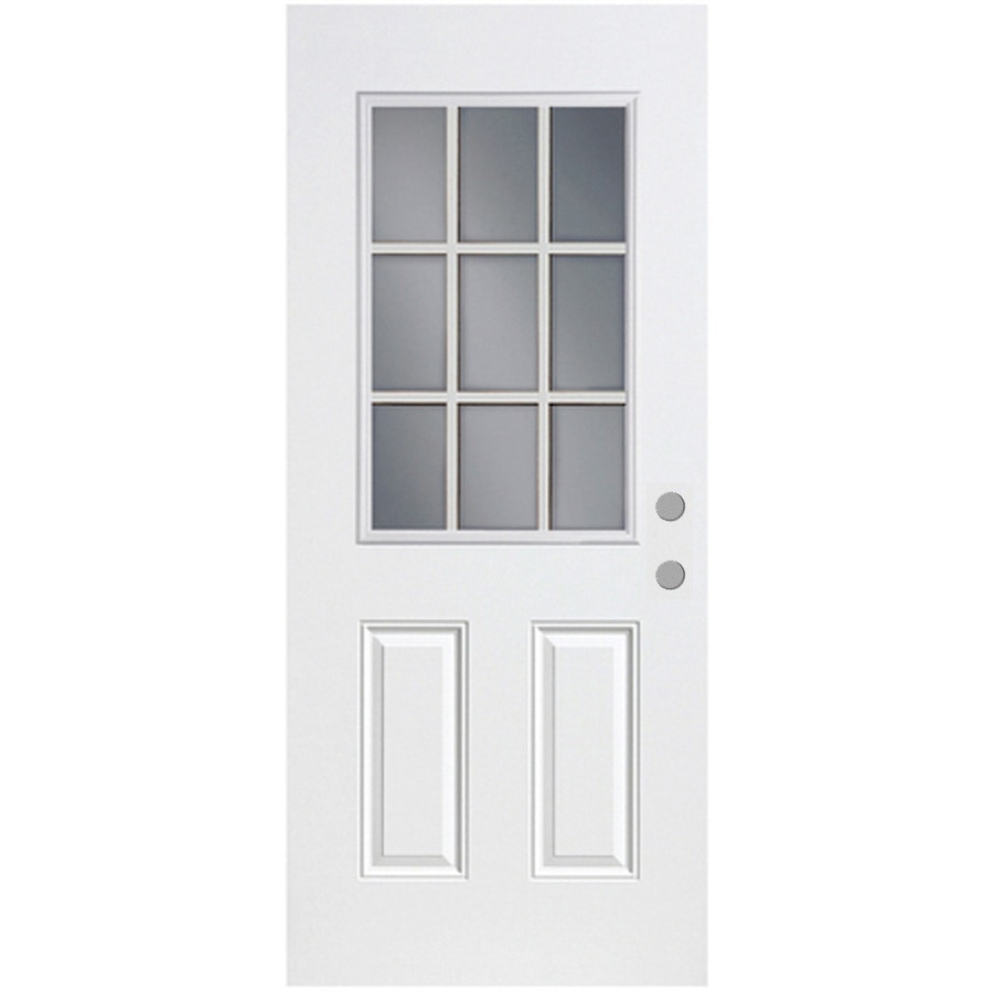 ReliaBilt French Insulating Core Half Lite Left-Hand Inswing Fiberglass Unfinished Prehung Entry Door (Common: 32-in x 80-in; Actual: 33.5-in x 81.75-in)