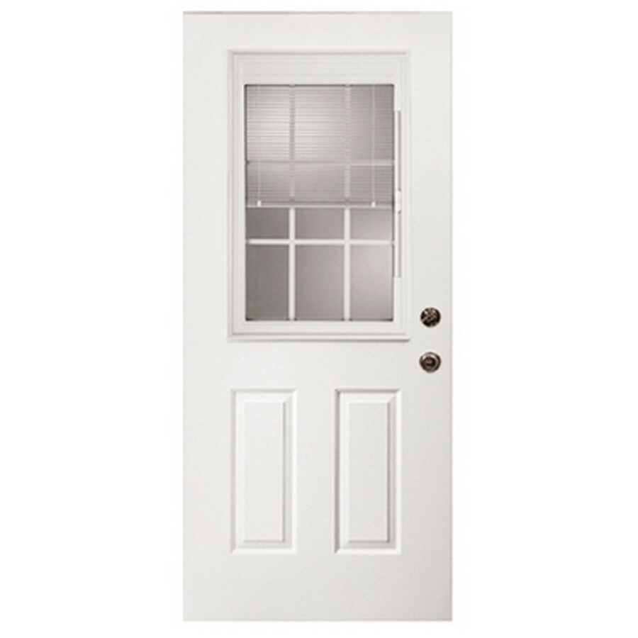 ReliaBilt French Insulating Core Blinds Between The Glass Half Lite Right-Hand Inswing Fiberglass Unfinished Prehung Entry Door (Common: 32-in x 80-in; Actual: 33.5-in x 81.75-in)