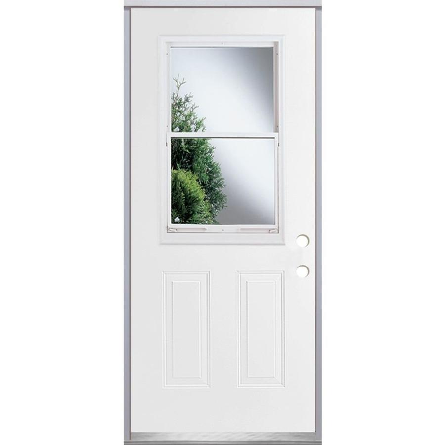ReliaBilt French Insulating Core Vented Glass with Screen Left-Hand Inswing Fiberglass Unfinished Prehung Entry Door (Common: 36-in x 80-in; Actual: 37.5-in x 81.75-in)
