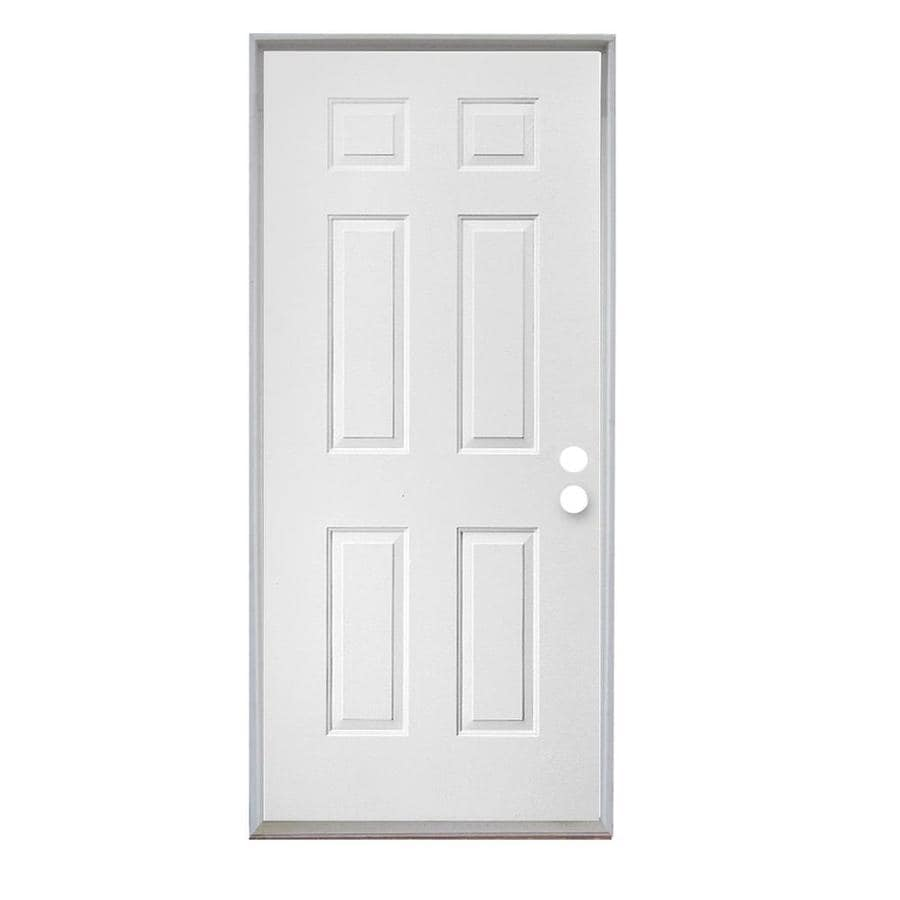 ReliaBilt 6-Panel Insulating Core Left-Hand Inswing Steel Primed Prehung Entry Door (Common: 36-in x 80-in; Actual: 37.5-in x 81.75-in)