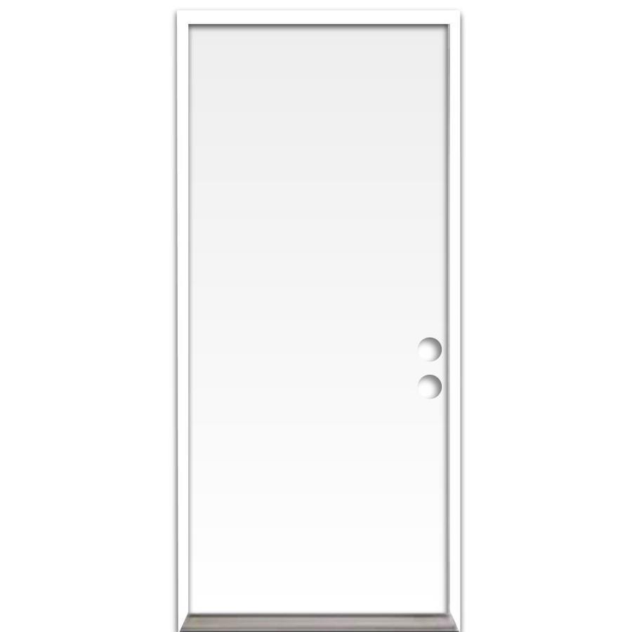 ReliaBilt Flush Insulating Core Left-Hand Inswing Steel Primed Prehung Entry Door (Common: 32-in x 80-in; Actual: 33.5-in x 81.75-in)