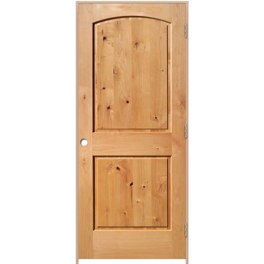 ReliaBilt Prehung 2-Panel Round Top Knotty Alder Interior Door (Common: 24-in x 80-in; Actual: 25.5-in x 81.5-in)
