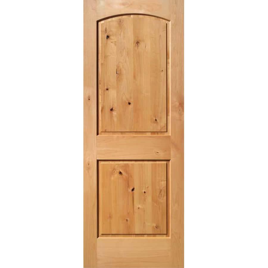 ReliaBilt 2-Panel Round Top Knotty Alder Slab Interior Door (Common: 32-in x 80-in; Actual: 32-in x 80-in)