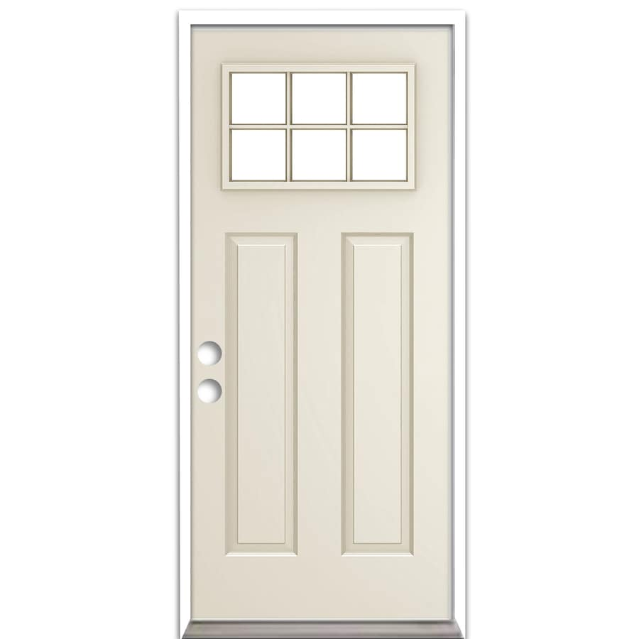 ReliaBilt French Insulating Core Craftsman 6-Lite Left-Hand Inswing Steel Primed Prehung Entry Door (Common: 32-in x 80-in; Actual: 33.5-in x 81.75-in)