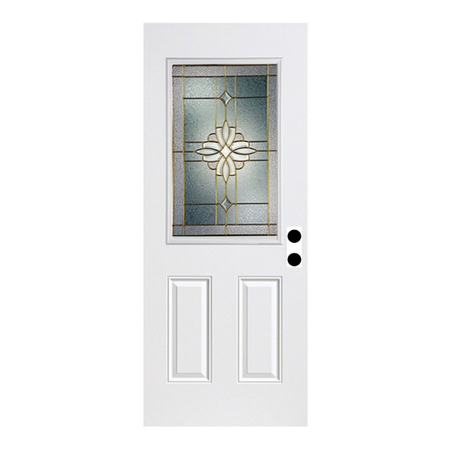 ReliaBilt Laurel French Insulating Core Half Lite Left-Hand Inswing Fiberglass Unfinished Prehung Entry Door (Common: 36-in x 80-in; Actual: 37.5-in x 81.75-in)