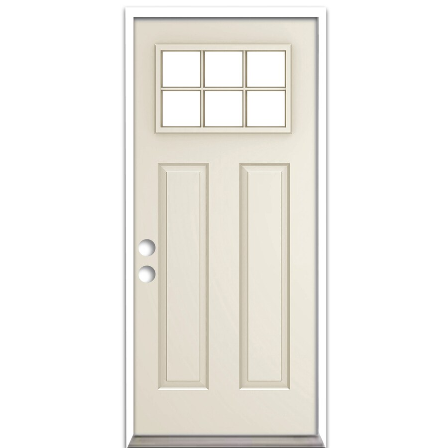 ReliaBilt Craftsman Insulating Core Craftsman 6-Lite Right-Hand Inswing Steel Primed Prehung Entry Door (Common: 36-in x 80-in; Actual: 37.5-in x 81.75-in)