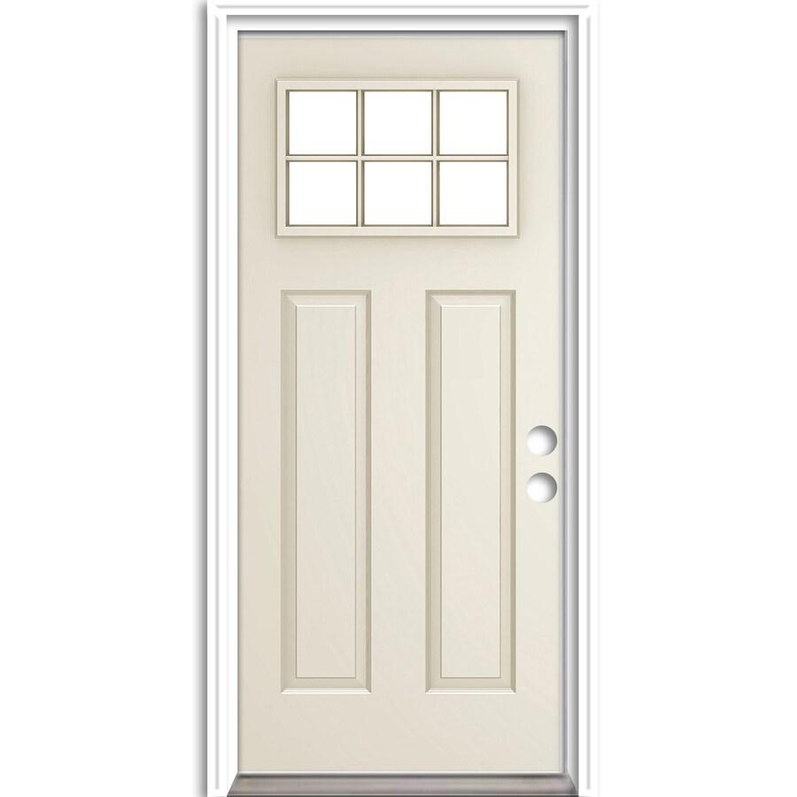 ReliaBilt Craftsman Insulating Core Craftsman 6-Lite Left-Hand Inswing Steel Primed Prehung Entry Door (Common: 36-in x 80-in; Actual: 37.5-in x 81.75-in)