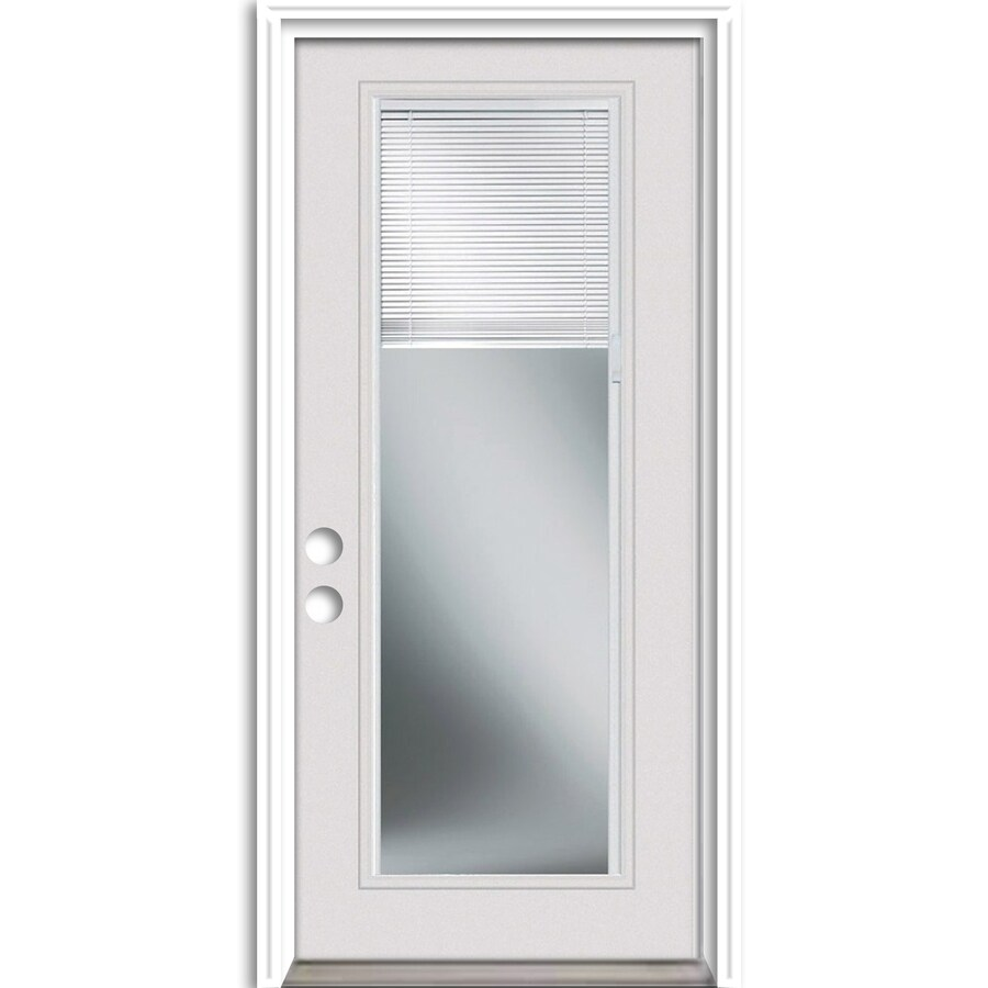 ReliaBilt French Insulating Core Blinds Between The Glass Full Lite Left-Hand Inswing Steel Primed Prehung Entry Door (Common: 32-in x 80-in; Actual: 33.5-in x 81.75-in)