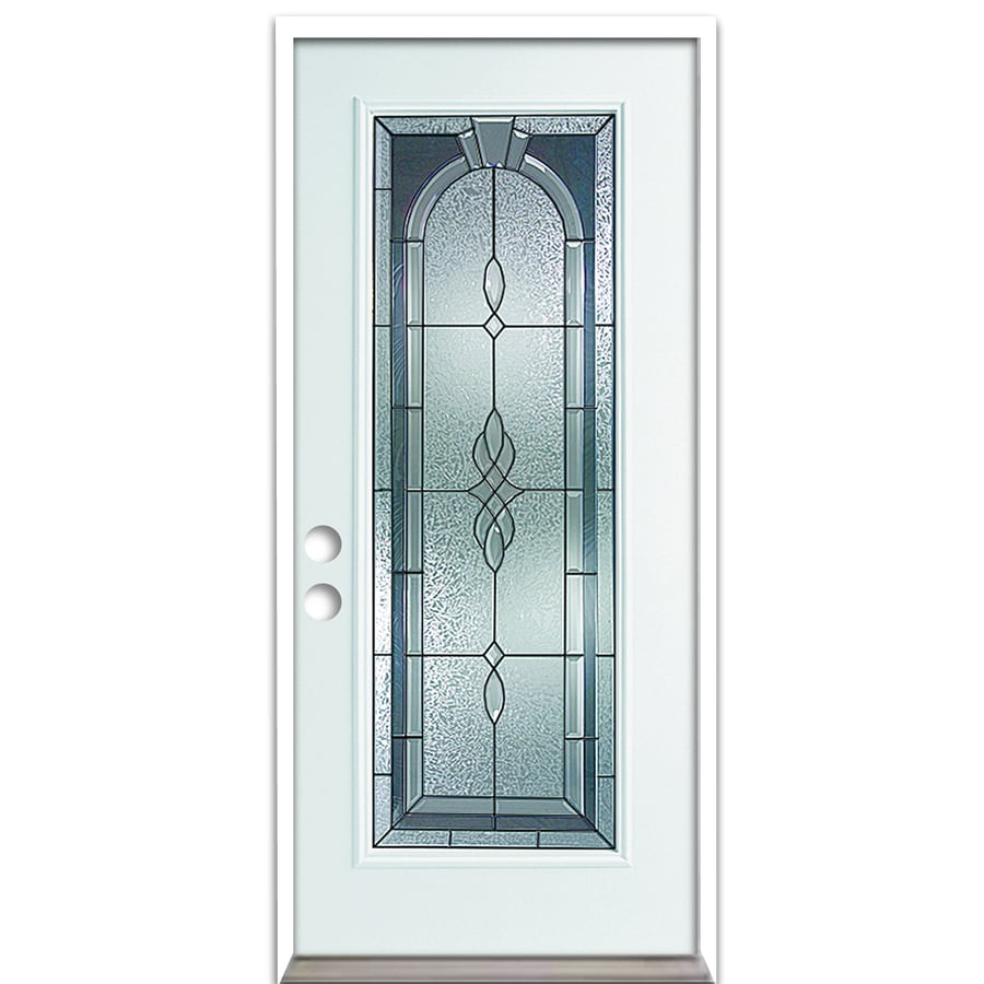 ReliaBilt Hampton French Insulating Core Full Lite Right-Hand Inswing Fiberglass Unfinished Prehung Entry Door (Common: 36-in x 80-in; Actual: 37.5-in x 81.75-in)