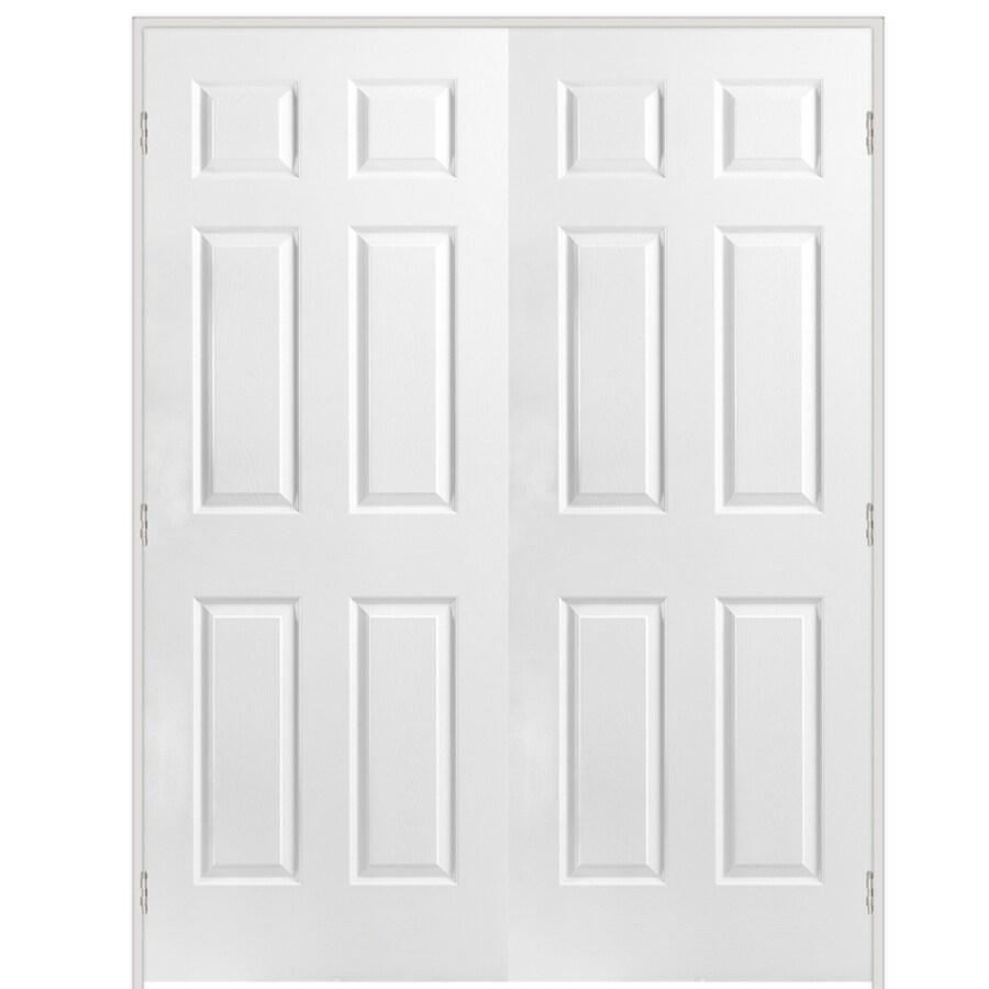 ReliaBilt Prehung Hollow Core 6-Panel French Interior Door (Common: 48-in x 80-in; Actual: 48-in x 80-in)
