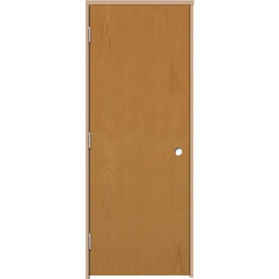 ReliaBilt Prehung Hollow Core Flush Oak Interior Door (Common: 30-in x 80-in; Actual: 31.5-in x 81.25-in)