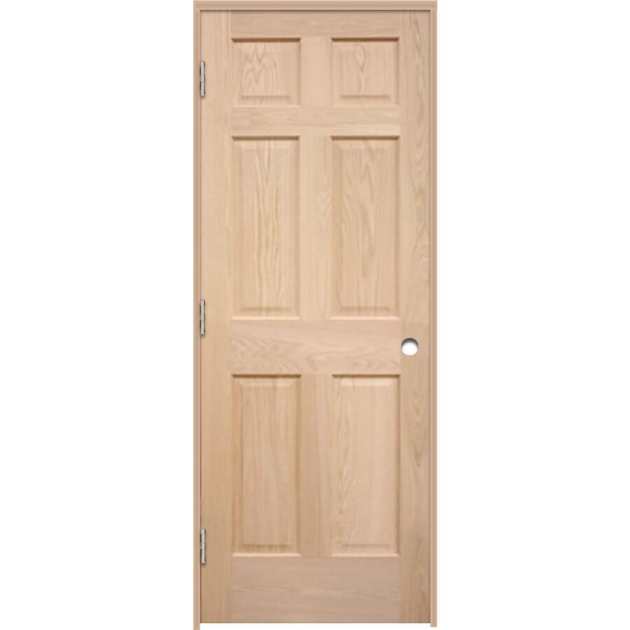 ReliaBilt Prehung 6-Panel Oak Interior Door (Common: 32-in x 80-in; Actual: 33.5-in x 81.25-in)