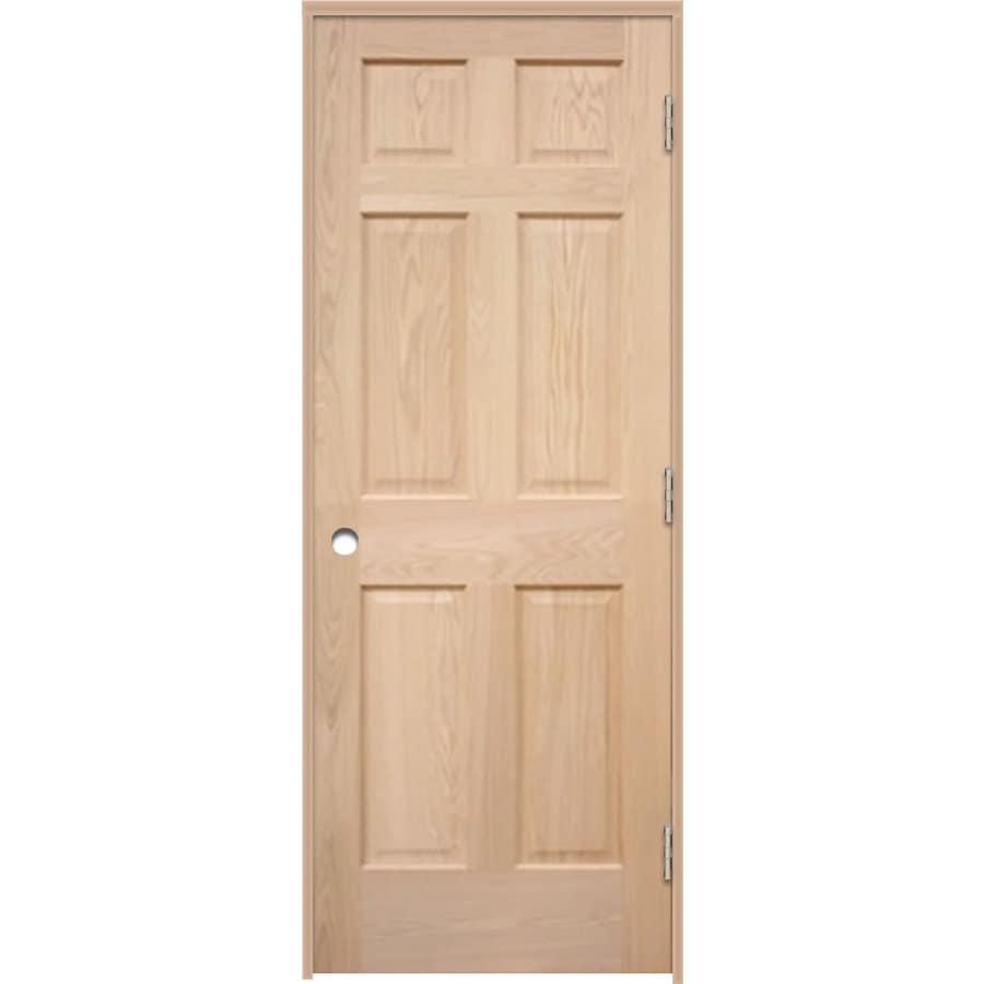 ReliaBilt Prehung 6-Panel Oak Interior Door (Common: 36-in x 80-in; Actual: 37.5-in x 81.25-in)
