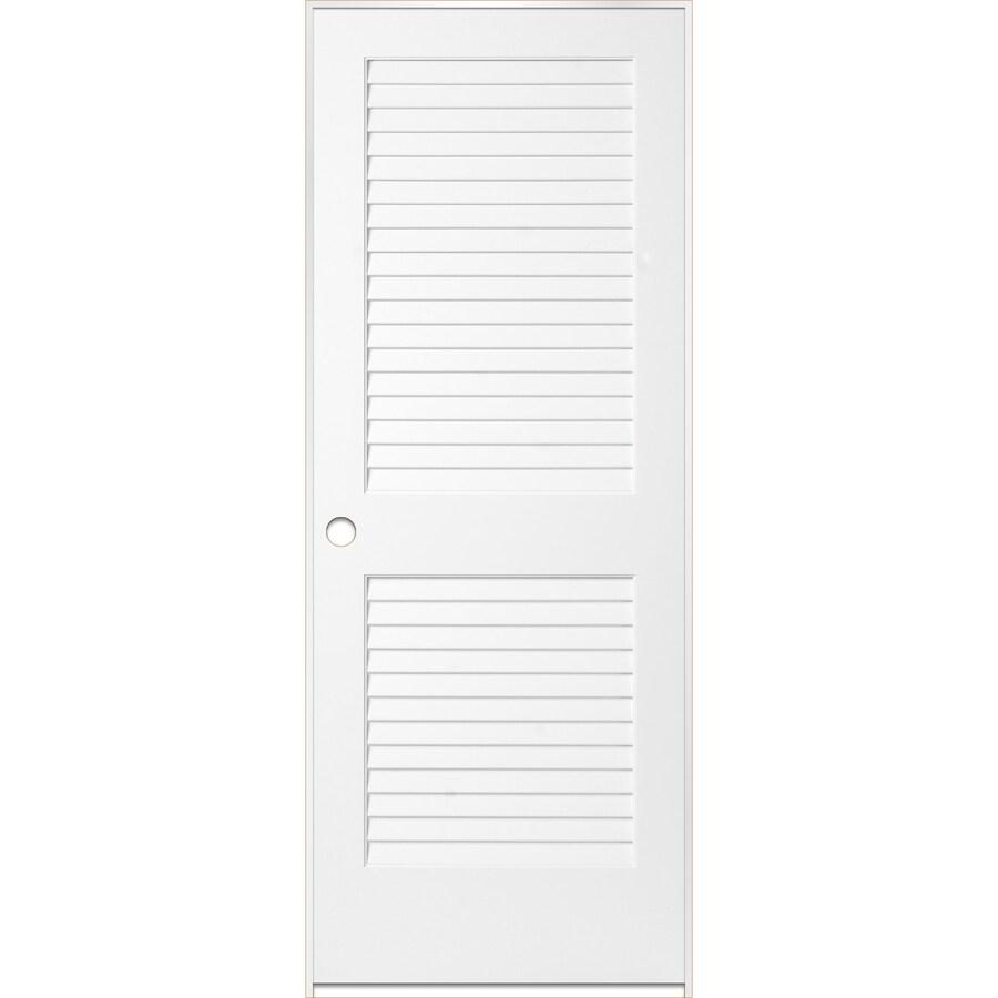 ReliaBilt White Prehung Plantation Louver Pine Interior Door (Common: 28-in x 80-in; Actual: 29.5-in x 81.5-in)